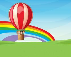 Kinderen rijden op een heteluchtballon