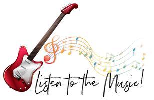 Woorduitdrukking om naar muziek te luisteren met muzieknotities op de achtergrond