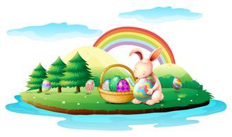 Een eiland met een konijn en een mand met paaseieren