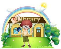 Een jongen voor de bibliotheek op de heuveltop