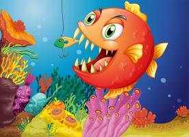 Een piranha onder de zee vector