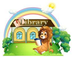 Een leeuw buiten een bibliotheek