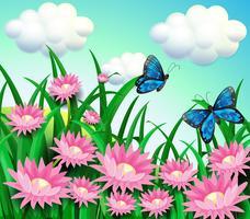 Vlinders in de tuin met roze bloemen vector