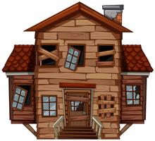 Houten huis in slechte staat