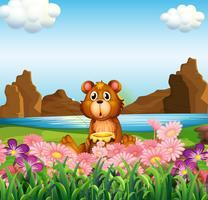 Een schattige beer in de buurt van de bloemen aan de rivieroever