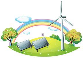 Een windmolen en zonnepanelen