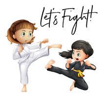 Woorduitdrukking voor laten we vechten met twee meisjes die vechten