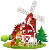 Boer in de boerderij met schapen en kippen vector