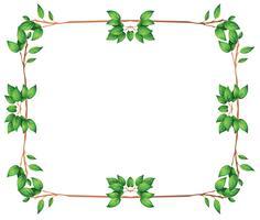 Een leeg kader met groene bladgrenzen vector