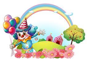 Een vrouwelijke clown op de heuvel met een regenboog