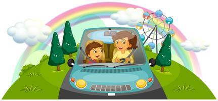 Een moeder die de auto bestuurt met haar dochter