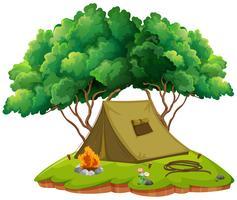 Camping met tent en kampvuur vector
