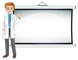 Arts die zich voor het witte scherm bevindt