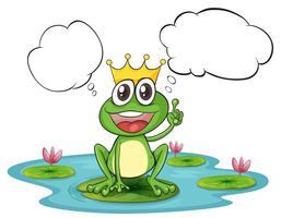 Een denkende kikker met een kroon vector