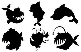 Zes silhouetten van vissen met grote hoektanden