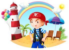 Een piraat op het strand