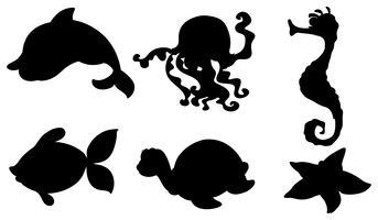 Silhouetten van de verschillende zeedieren