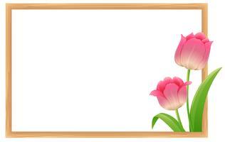 Grensmalplaatje met roze tulpenbloemen