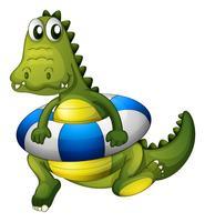 Een krokodil met een reddingsboei