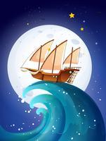Een schip boven de gigantische golven