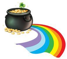 Een pot met gouden munten met een groene plant