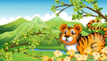 Een tijger in de berg dichtbij de stromende rivier