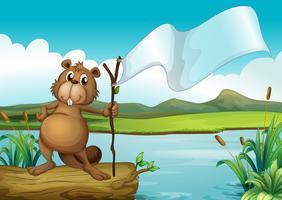 Een bever die een hout met een lege banner houdt
