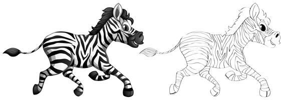 Doodle dier voor zebra vector