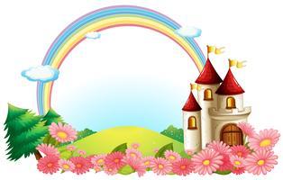 Een kasteel met bloeiende bloemen