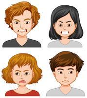 Vier mensen met verschillende gezichtsuitdrukkingen