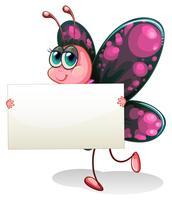 Een vlinder die een leeg karton houdt