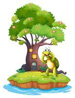 Een eiland met een grote boom en een schildpad