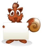 Een eekhoorn die een leeg uithangbord houdt vector