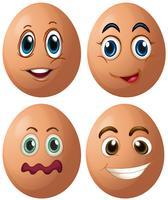 Eieren met vier verschillende gezichtsuitdrukkingen