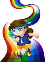 Een vrouw die aan de regenboog jogt