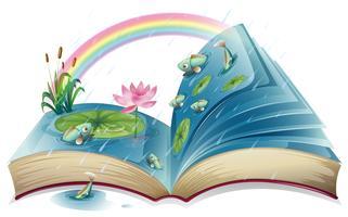 Een boek met een afbeelding van een vijver