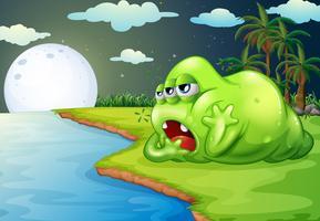 Een slaperig monster aan de rivier