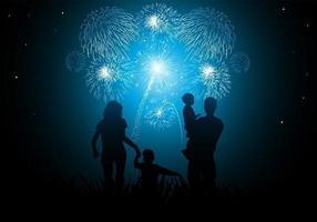 Familie Nieuwjaar Vuurwerk Vector Behang