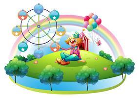Een eiland met een vrouwelijke clown en een pretpark