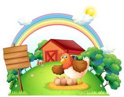 Een kip en haar eieren in de buurt van de lege houten plank