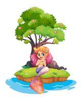 Een eiland met een glimlachende zeemeermin