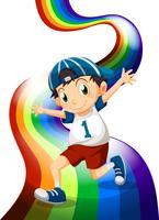 Een jongen en een regenboog vector