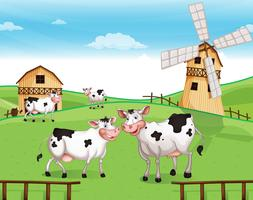 Koeien op de heuveltop met een windmolen