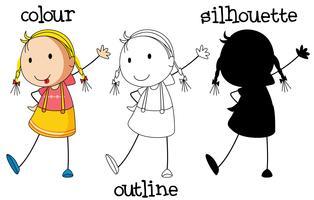 Een reeks van meisje met verschillend grafisch ontwerp