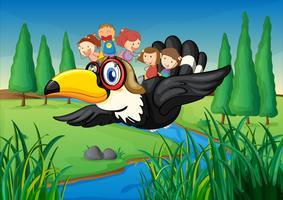 een rivier, een vogel en kinderen