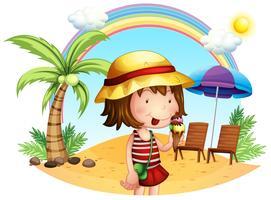 Een strand met een klein meisje vector