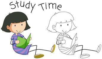 Doodle meisje karakterstudie