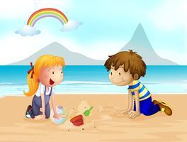 Een lachende kinderen en een regenboog