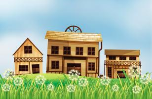 Een reeks houten huizen