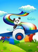Een vliegtuig met een panda in de buurt van de regenboog vector